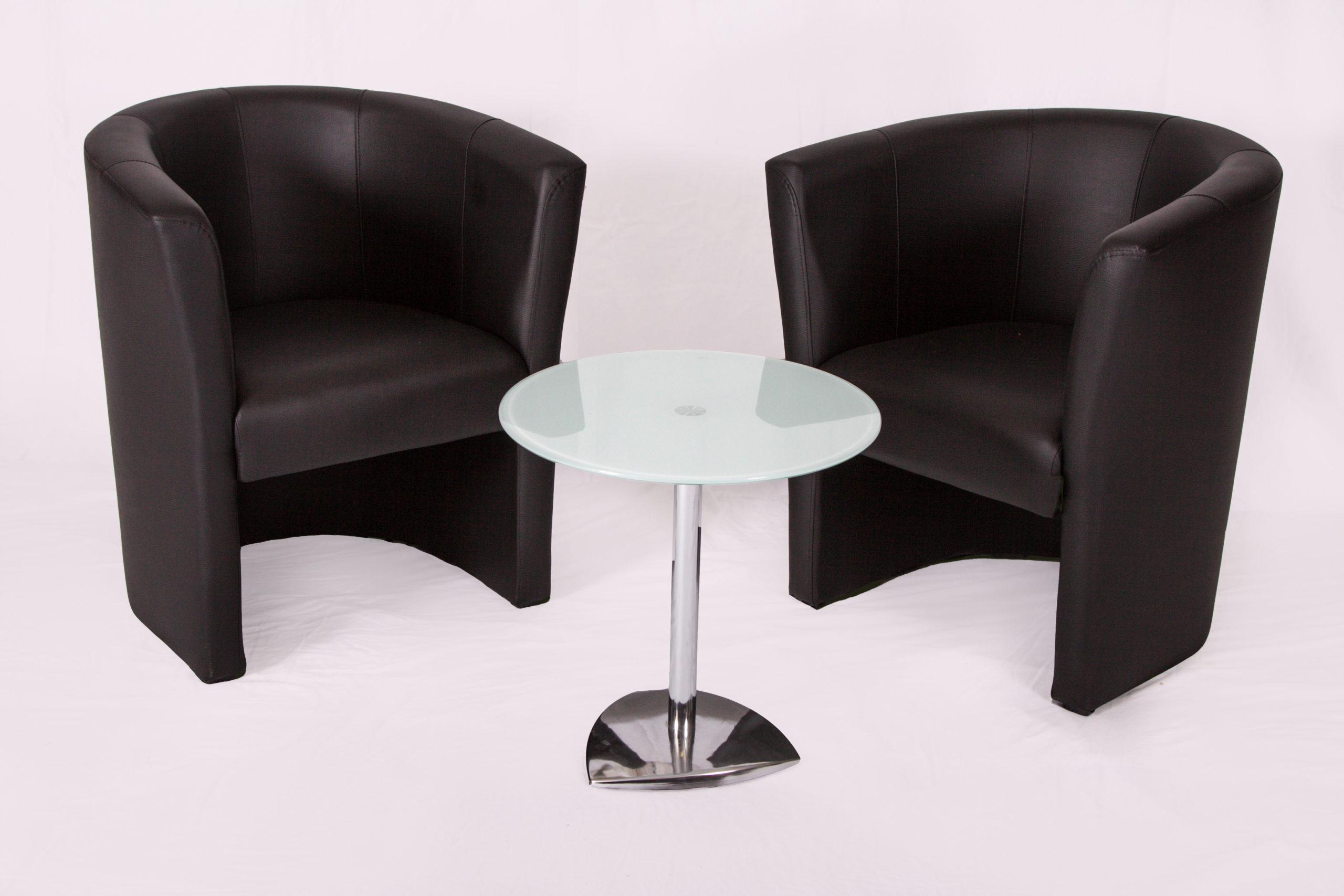 Loungegarnitur Loungesessel Loungetisch Glastisch Sessel schwarz