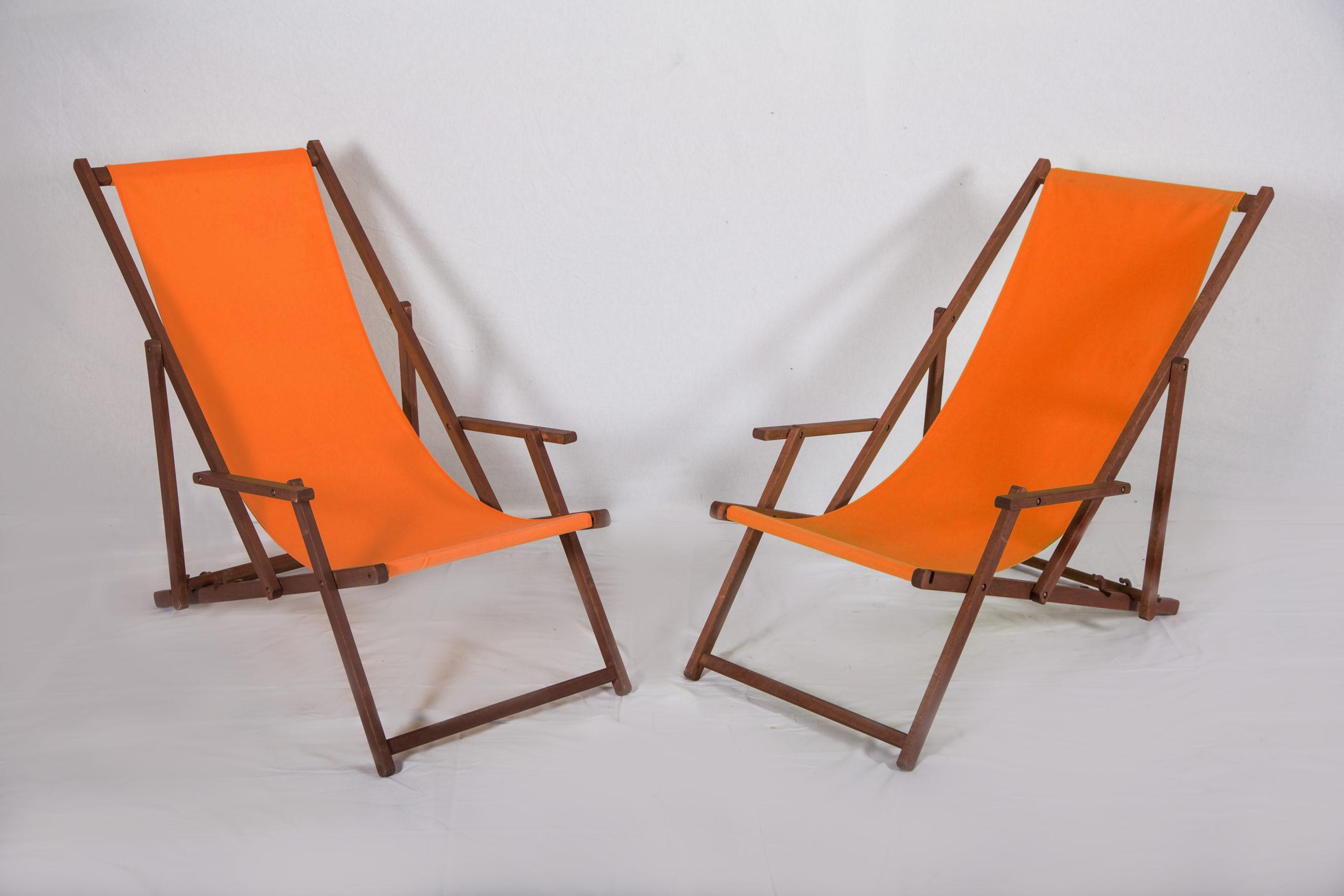 Liegestuhl orange Gartenstuhl aus Holz Stoffbezug