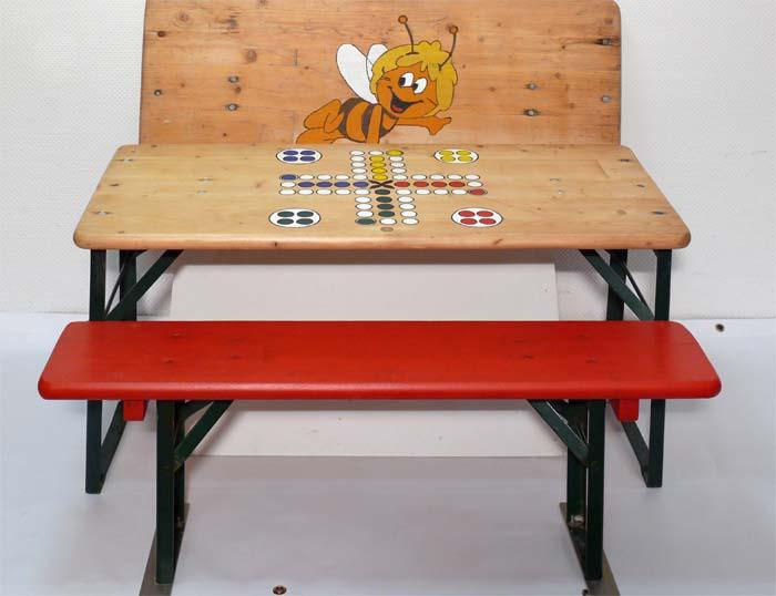 Biertischgarnitur Kinder Kindergarnitur Spiel Spieltisch Holz 2 Bänke 1 Tisch zwei Bänke 1 Tisch klappbar mieten Verleih leihen ausleihen