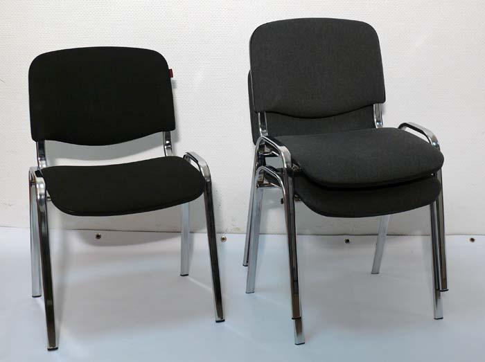 gepolstert Stuhl Konferenzstuhl schwarz chrome